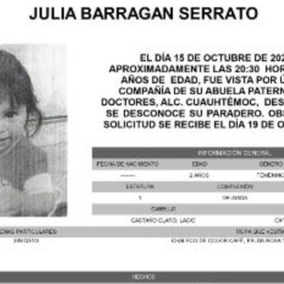Activan Alerta Amber para localizar a Julia Barragan Serrato