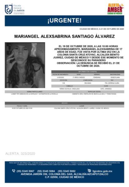 Activan Alerta Amber para localizar a Mariangel Alexsabrina Santiago Álvarez