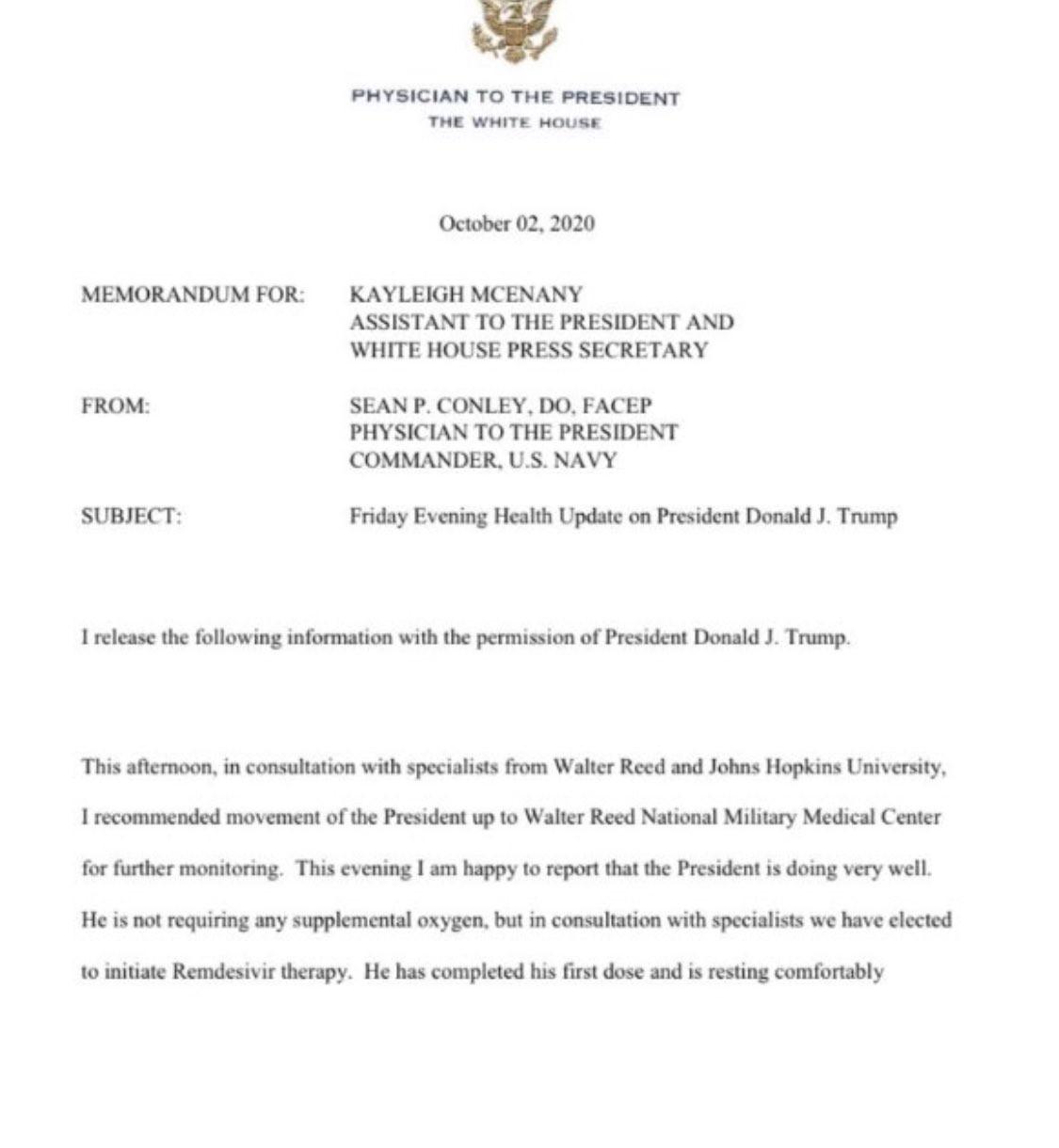 Parte médico de Donald Trump informa que no requiere oxígeno suplementario