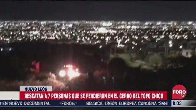 rescatan a 7 personas que se perdieron en el cerro del topo chico