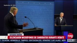 silenciaran microfonos de trump y biden por turnos durante proximo debate