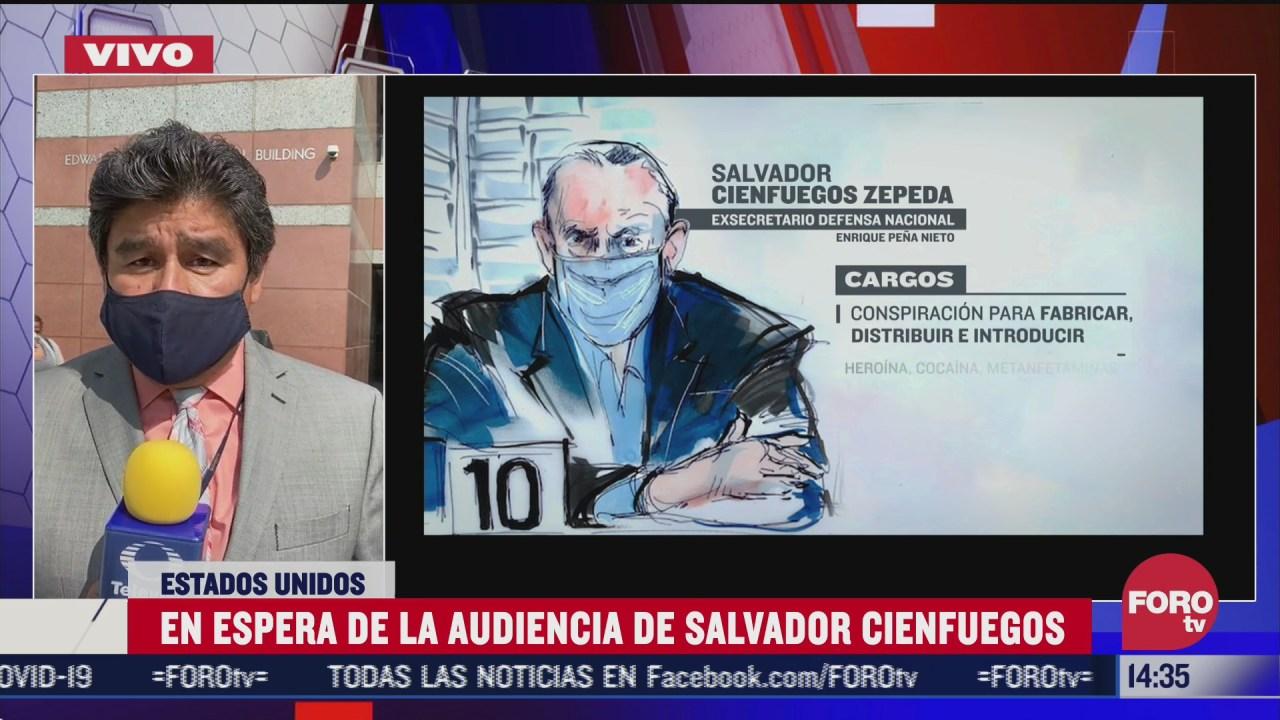La tarde del martes 20 de octubre se llevará a cabo en Estados Unidos el juicio en contra del ex titular de la Sedena, Salvador Cienfuegos