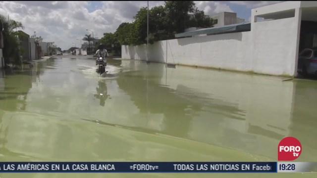 trabajan para desazolvar zonas inundadas en yucatan