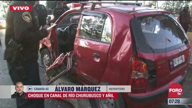 un lesionado tras choque en rio churubusco y anil en cdmx
