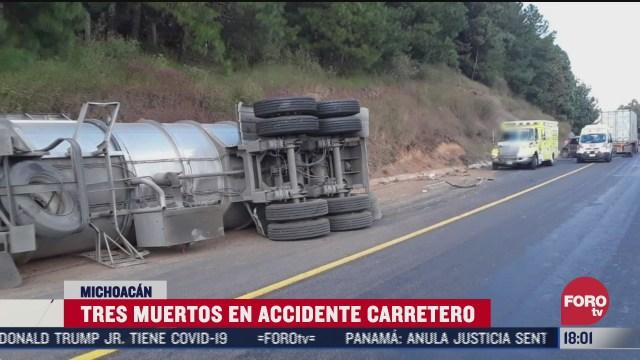 accidente en autopista de michoacan deja tres muertos