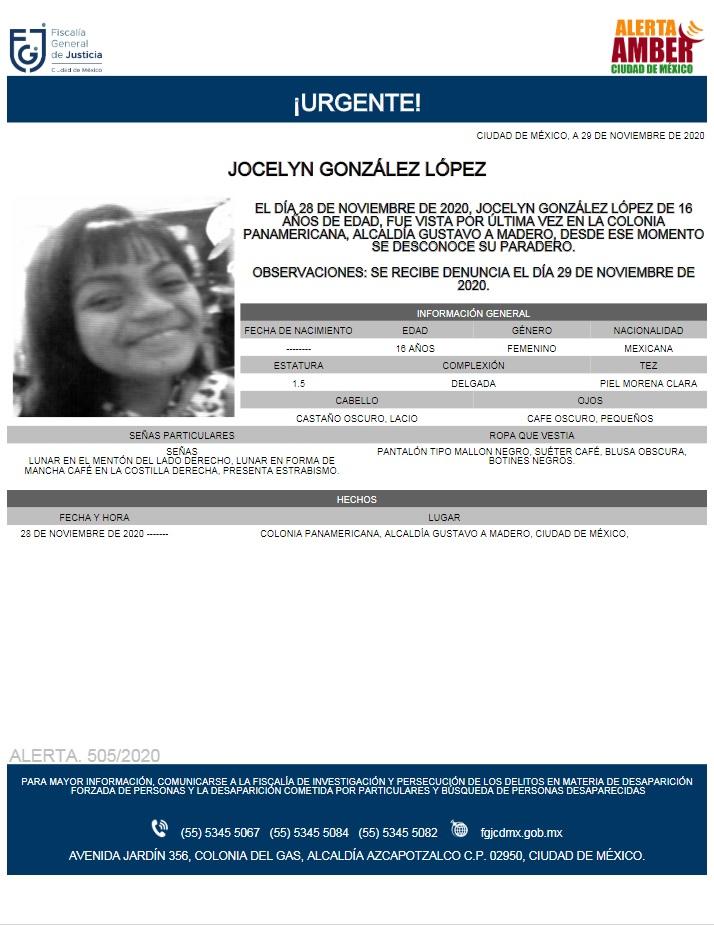 Activan Alerta Amber para localizar a Jocelyn González López