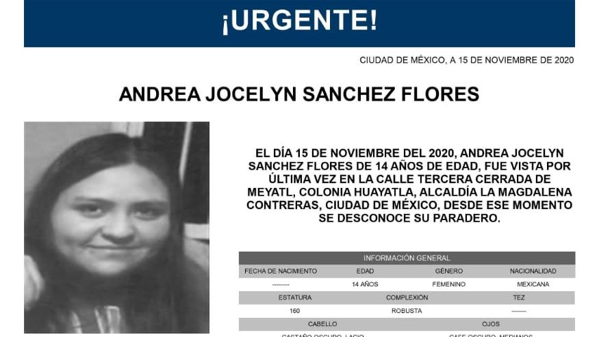 Activan Alerta Amber para localizar a Andrea Jocelyn Sánchez Flores
