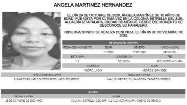 Activan Alerta Amber para localizar a Ángela Martínez Hernández