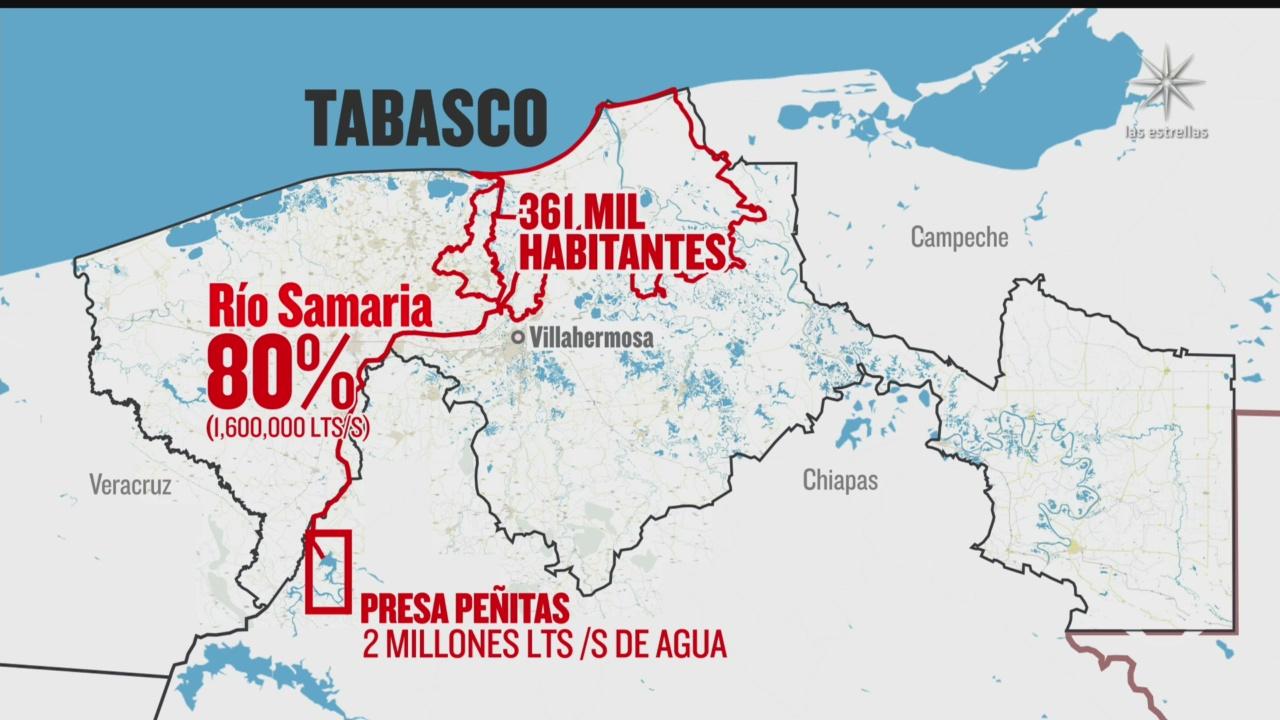 asi luce el mapa de las inundaciones en tabasco
