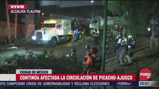 continua afectada la circulacion en la picacho ajusco tras accidente de pipa