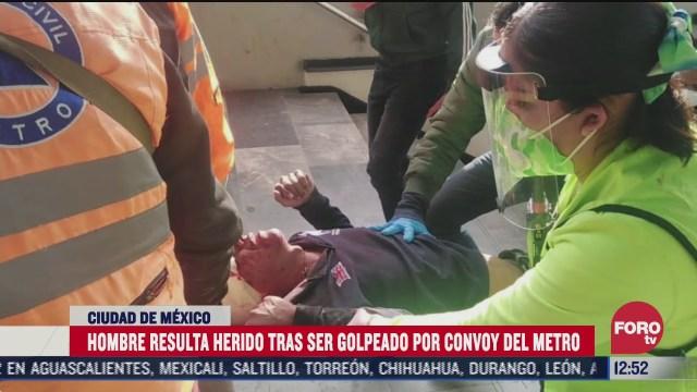 convoy del metro cdmx golpea a hombre en la cabeza