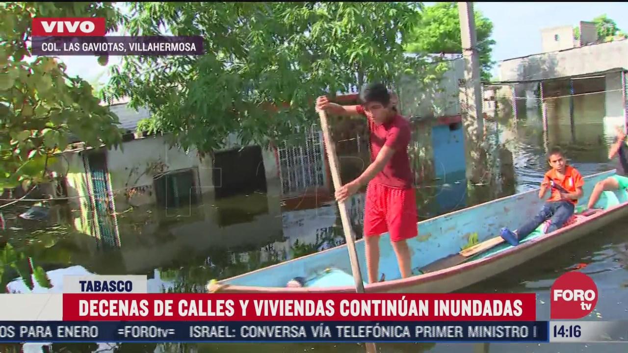 decenas de calles siguen inundadas en tabasco