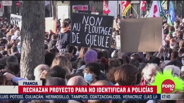 franceses protestan contra ley que frena identificacion de policias