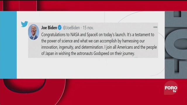 joe biden felicita a la nasa y spacex tras lanzamiento exitoso