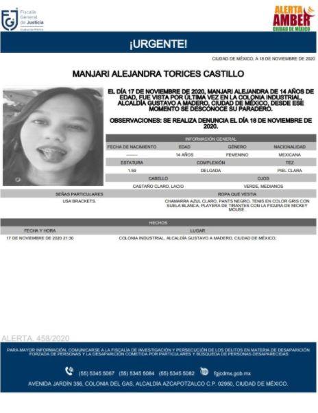 Activan Alerta Amber para localizar a Manjari Alejandra Torices Castillo. (Foto: @FiscaliaCDMX)