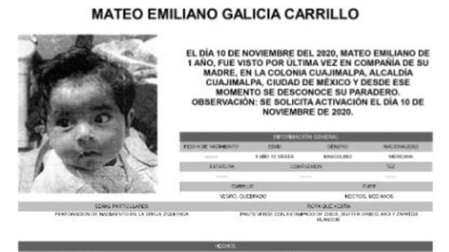 Activan Alerta Amber para localizar a Mateo Emiliano Galicia Carrillo