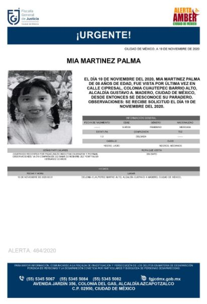 Activan Alerta Amber para localizar a Mia Martinez Palma. (Foto: @FiscaliaCDMX)