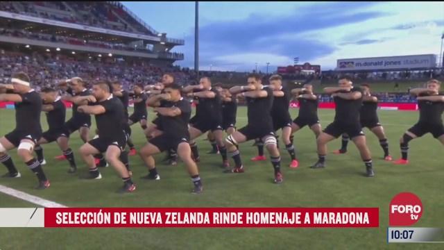 seleccion de rugby de nueva zelanda homenajea a maradona