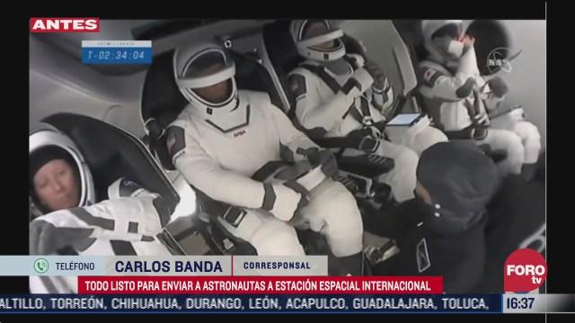 spacex prepara lanzamiento de astronautas a la estacion espacial internacional