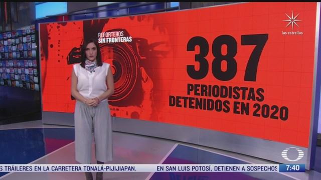 387 periodistas han sido detenidos este ano en el mundo