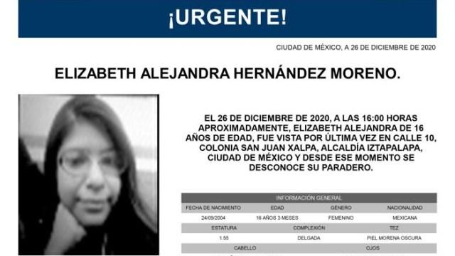 Activan Alerta Amber para localizar a Elizabeth Alejandra Hernández Moreno