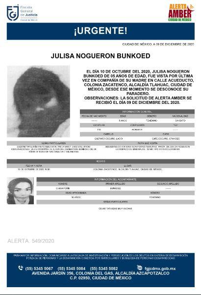 Activan Alerta Amber para localizar a Julisa Nogueron Bunkoed