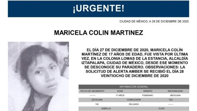 Activan Alerta Amber para localizar a Maricela Colín Martínez