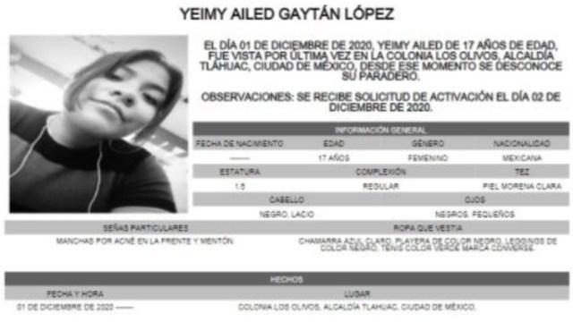 Activan Alerta Amber para localizar a Yeimy Ailed Gaytán López