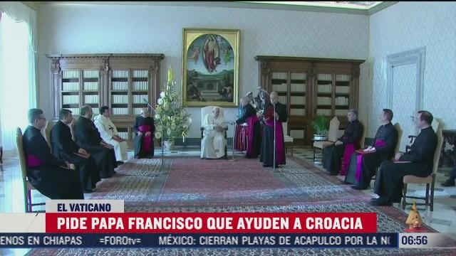 el papa pide a la comunidad ayudar a croacia tras sismo