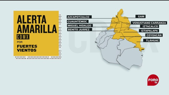 emiten alerta amarilla por fuertes vientos en la ciudad de mexico