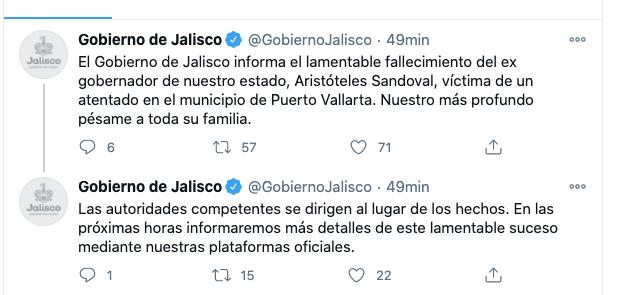 Gobierno de Jalisco confirma muerte de Aristóteles Sandoval