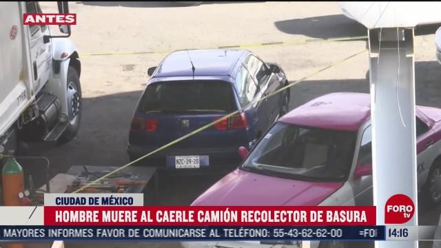 hombre muere al caerle camion recolector de basura en cdmx