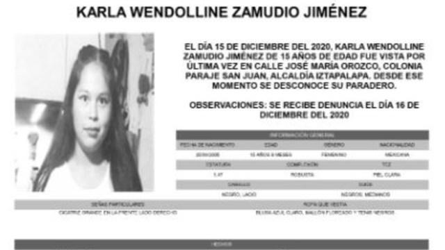 Activan Alerta Amber para localizar a Karla Wendoline Zamudio Jiménez.