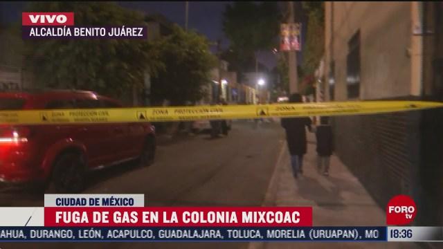 se registra fuga de gas en colonia mixcoac cdmx