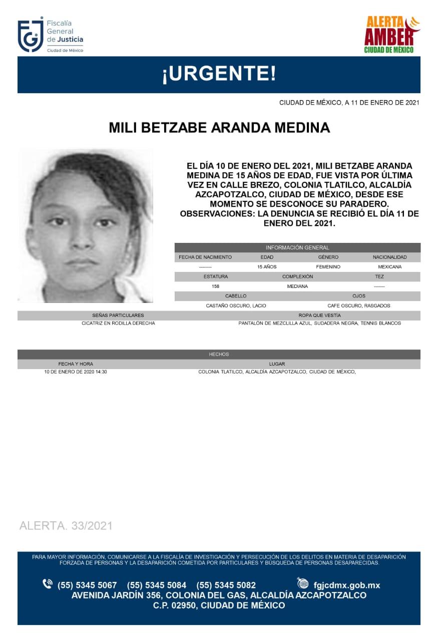 Activan Alerta Amber para localizar a Mili Betzabe Aranda Medina