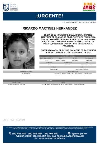 Activan Alerta Amber para localizar a Ricardo Martínez Hernández