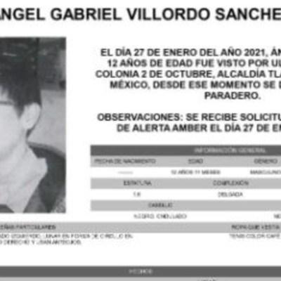 Activan Alerta Amber para localizar a Ángel Gabriel Villordo Sánchez