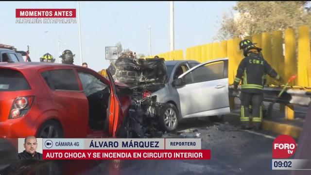 auto choca y se incendia en circuito interior cdmx