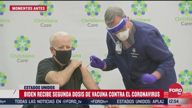 biden recibe segunda dosis de vacuna contra coronavirus