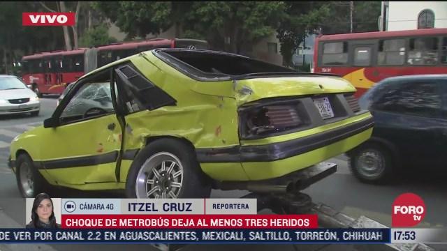 choque de metrobus deja al menos tres heridos en narvarte poniente