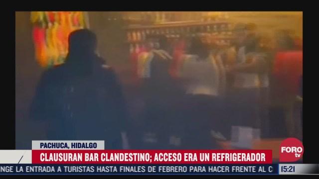 clausuran bar clandestino que tenia acceso por medio de un refrigerador en pachuca