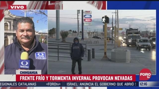frente frio y tormenta invernal provocan nevadas en chihuahua