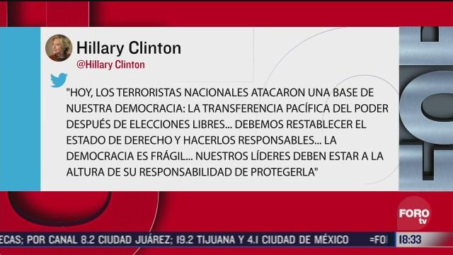 hillary clinton manda mensaje tras las protestas en el capitolio