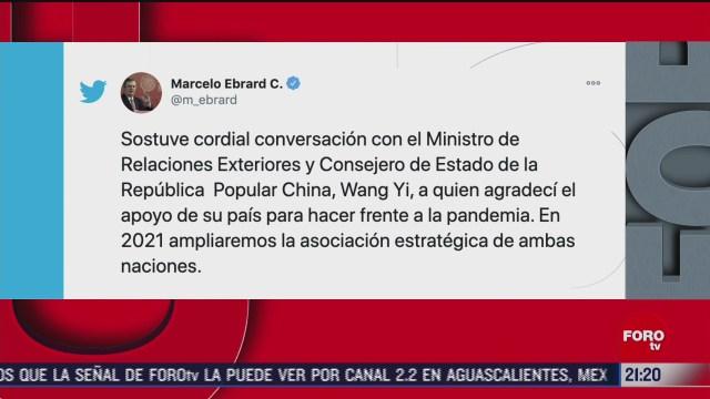 marcelo ebrard agradece a china su apoyo para enfrentar la pandemia covid