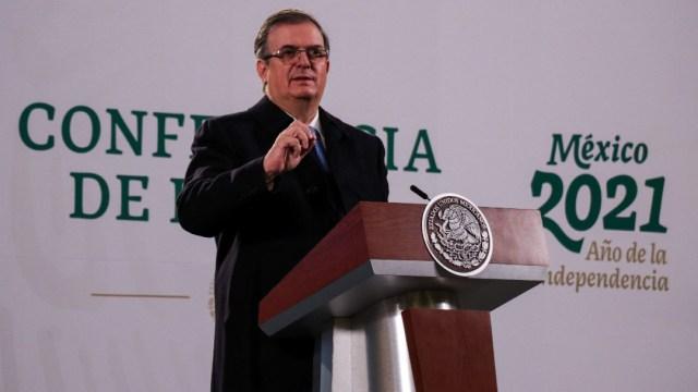 El canciller Marcelo Ebrard durante la conferencia de prensa sobre la exoneración del exsecretario Salvador Cienfuegos