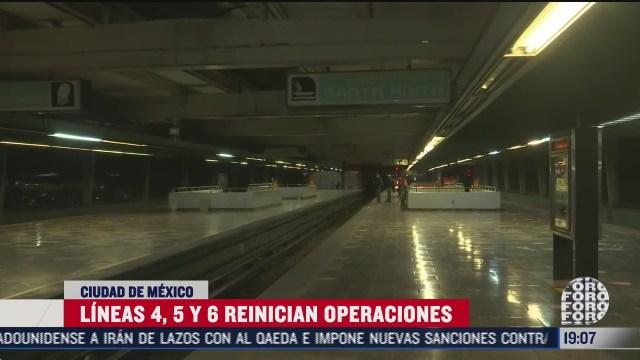 metro restablece operacion de lineas 4 5 y 6 con numero limitado de trenes