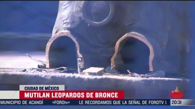 mutilan seis leopardos de bronce del monumento a cuauhtemoc en cdmx