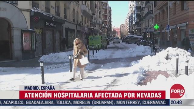 nevada en madrid espana afecta atencion hospitalaria