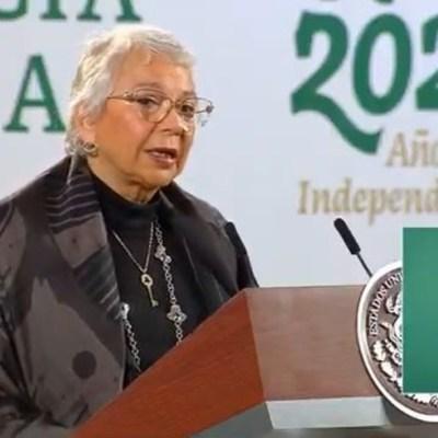 Olga Sánchez Cordero sustituye a López Obrador en conferencia matutina