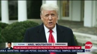 pelosi continuara con proyecto de juicio politico contra trump
